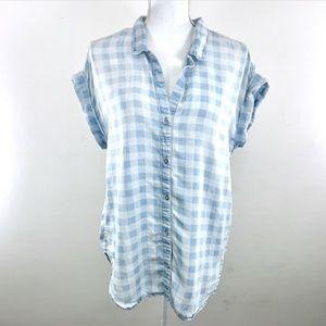 CLOTH & STONE CHAMBRAY GINGHAM SLEEVELESS SHIRT